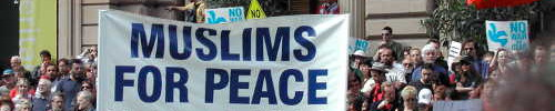 Muslims for Peace banner